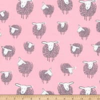 Kaufman Wooley Sheep Pink