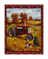 "Farmall Tractor In Field with Dogs 36"" Panel Multi"