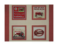"Farmall Country Check Pillow 36"" Panel Multi"