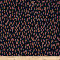 Hazy Daub Print ITY Knit Navy and Tan