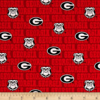 NCAA Georgia Bulldogs Distressed Logo Allover Red