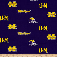 NCAA University of Michigan Herringbone Allover Blue