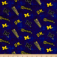 NCAA University of Michigan Distress Logo  Allover Blue/Yellow