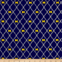 NCAA University of Michigan Trellis Logo Allover Blue