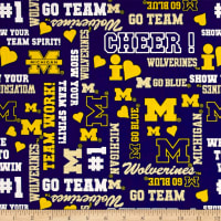NCAA University of Michigan Logo Allover Metallic Glitter Multi Metallic