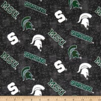 NCAA University of Michigan State Flannel Distressed Logo Grey