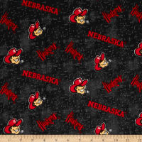 NCAA University of Nebraska Flannel Distressed Logo Red