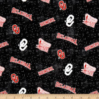 NCAA University of Oklahoma Flannel Distressed Logo Red/White