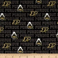 NCAA Purdue University Distressed Logo Allover Black