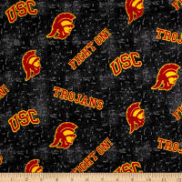 NCAA University of Southern California Flannel Distressed Logo Red