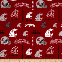 NCAA Washington State University Logos Allover Red