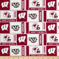 NCAA University of Wisconsin Herringbone Box Red/White