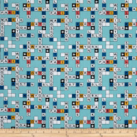 Stof  Enfant Scrabble Blue