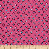 New Country Calicos Flowers Fuchsia/Blue