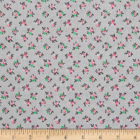 New Country Calicos Flowers Soft Gray