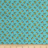 New Country Calicos Flowers Turquoise/Orange
