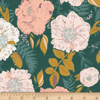 Art Gallery Foraged Garland Golden Rayon Challis Deep Pine