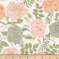 Art Gallery Gathered Foraged Garland Peony Jersey Knit Light Pink