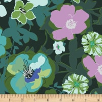 Art Gallery Rainforest Fusion Rayon Challis Blomma Garden Rainforest Deep Green