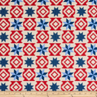 "108"" Wide Traditional Quilts Stars Red/Blue/Cream"