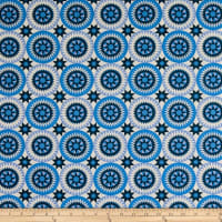 "108"" Wide Traditional Quilts Circles Blue/Cream"
