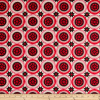 "108"" Wide Traditional Quilts Circles Red/Cream"