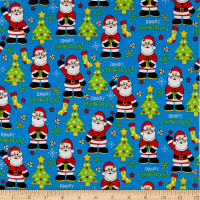 Christmas Cheer Santas Allover Blue/Multi