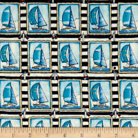 Clear Sailing Sailboats Allover Blue
