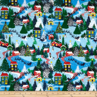 Christmas Cabins Allover Multi Blue