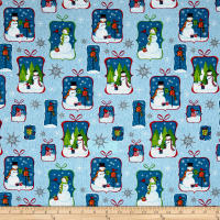 Christmas Snowmen Allover Metallic Blue/Silver