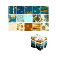 Kaufman Terracina Fat Quarter Bundle 15 Pcs Metallic Teal