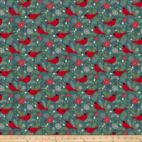 Swedish Christmas Red Cardnials Teal