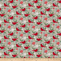 Swedish Christmas Red Cardinals Light Grey
