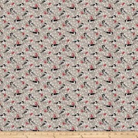 Swedish Christmas Tossed Birds Dark Grey