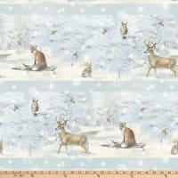 Enchanted Forest Animals Stripe Pale Blue