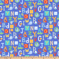 Northcott Alphabet Soup Animal ABCs Blue