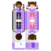 "Girls Of The World 24"" Panel Purple"