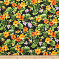 Trans-Pacific Textiles Tropical Mini Floral Bouquet Black