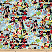 Trans-Pacific Textiles Tomodachi Wild World of Anime Blue