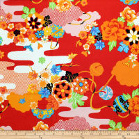 Trans-Pacific Textiles Asian Summer Yukata Red