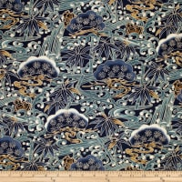 Trans-Pacific Textiles Asian Bonsai Navy