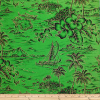 Trans-Pacific Textiles Retro Gold Hawaiian Shirt Green