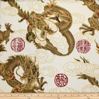 Trans-Pacific Textiles Asian Good Luck Dragon withGold White