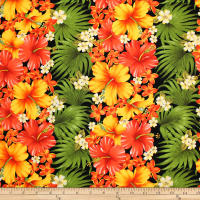 Trans-Pacific Textiles Tropical Hibiscus Rows Black