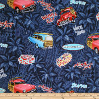 Trans-Pacific Textiles Retro Woodies Royal