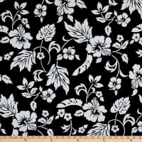Trans-Pacific Textiles Simple Hawaiian Pareau Hibiscus Black