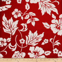 Trans-Pacific Textiles Simple Hawaiian Pareau Hibiscus Red