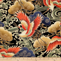 Trans-Pacific Textiles Asian Tsuru in Flight Black