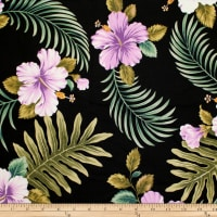 Trans-Pacific Textiles Tropical Hibiscus Leaves Black