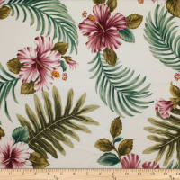 Trans-Pacific Textiles Tropical Hibiscus Leaves White